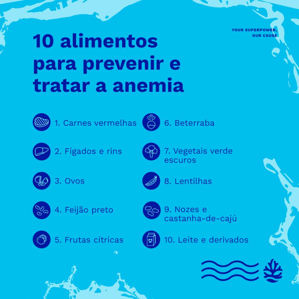 10 alimentos para anemia: infográfico